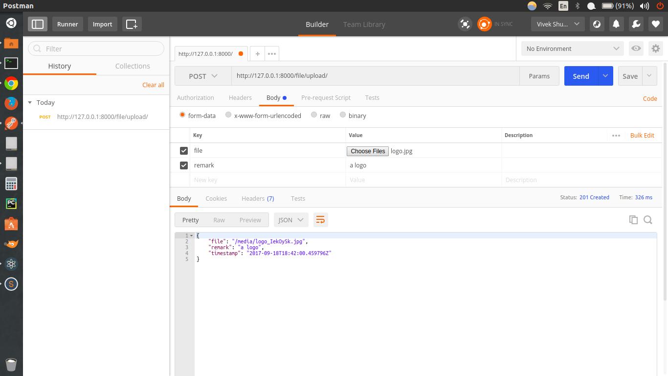 Uploading file using api in django rest framework ⋆ Vivek's Blog